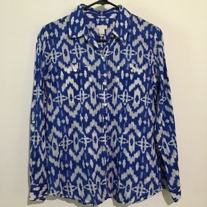 Chico's Blue/White Print Long Sleeve Blouse